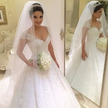 TPSAADE Luxury Beading Sweep Train Wedding Dress