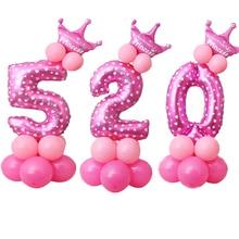 17 шт. в 1 Розовый Синий 0-9 цифры большой гелиевый номер фольги Детские фестивали Dekoration день рождения игрушка шляпа для детей