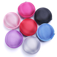 1PC Round Earphone Holder Case Storage Carrying Hard Bag Box Case Money Coin Purses Zipper Coin Purses & Holders