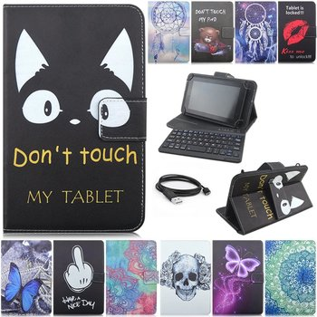 New Separable 2 in 1 Bluetooth Cartoon Universal Leather Case Cover with USB Keyboard for 10 inch Table PC Keyboard holster