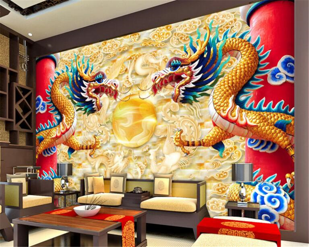 beibehang papel de parede 3d wallpaper Custom silk cloth personality wall paper China Dragon TV backdrop decorative painting beibehang custom 3d personality summer