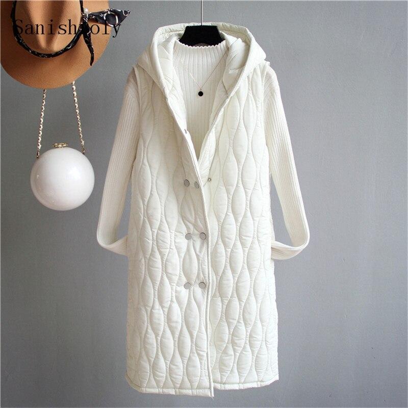 Sanishroly New Women Sleeveless Hooded Vest Coats Autumn Winter Warm Cotton Waistcoat Jacket Female Midi Long Vests Outwear S606