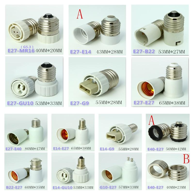 Led Lamp Bulb Base Conversion Holder Converter Socket Adapter MR16 GU10 G9 B22 E27 E14 E40 Fireproof Material For Home Light