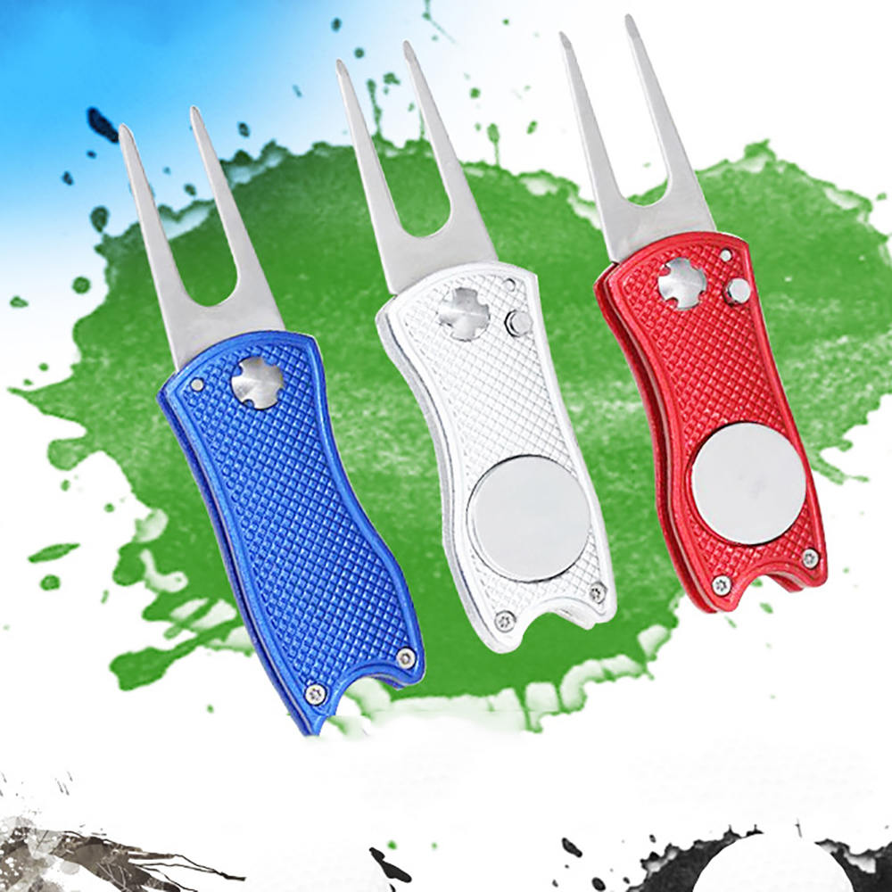 Foldable Golf Divot Repair Tool Golf Marker Pitch Cleaner Tool Golf Pitchfork Golf Accessories Putting Fork