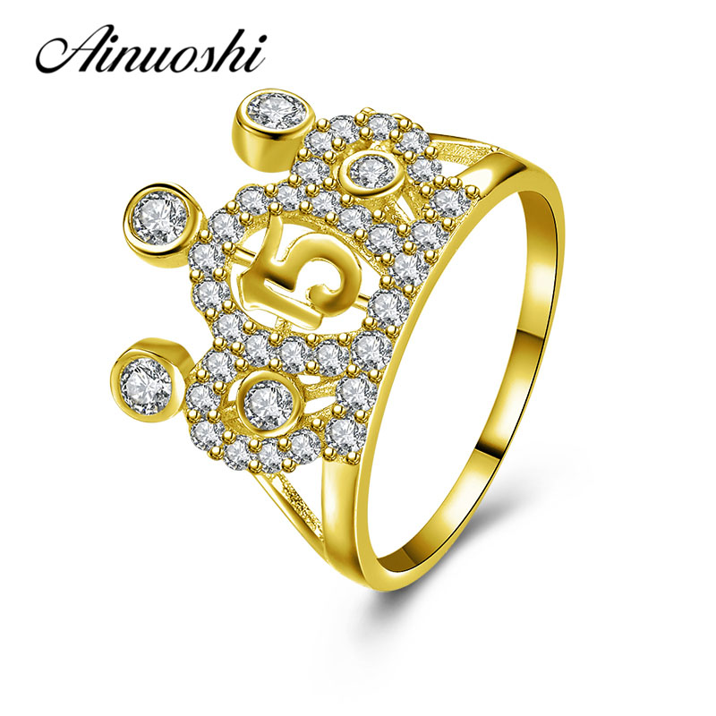 AINUOSHI Exquisite Princess Crown Ring 10K Solid Yellow Gold Women Wedding Ring Female Jewelry Lady Engagement Anniversary Rings ainuoshi exquisite queen crown ring 10k solid yellow gold flower ring women jewelry engagement wedding birthday party heart ring