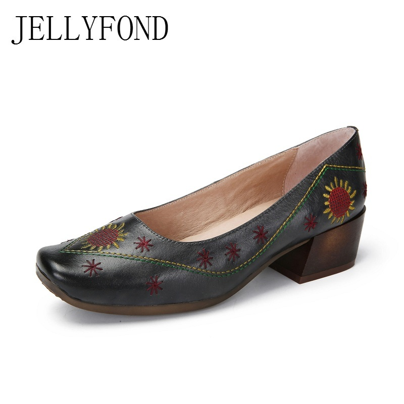 Real Leather Square Toe Embroidery Women Retro Pumps 2018 Spring Designer Cowhide Slip On Chunky High Heels Vintage Shoes Woman 2016 genuine leather women pumps shoes high heels tassel slip on cowhide chunky heels vintage style