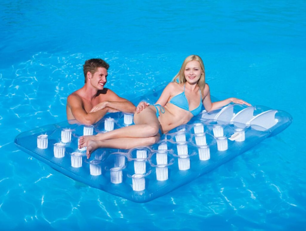193 x 142cm Thirty six hole double floating plunge inflatable floating bed water bed beach mat