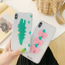 INS super fire cute peach small crocodile mobile phone case for iphone Xs MAX XR X 6 6s 7 8 plus love pattern TPU back cover