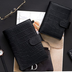 lovedoki Black Genuine Leather Rings Notebook A6 A7 Binder Daily Planner Handmade Personal Diary Agenda Organizer Money Pocket