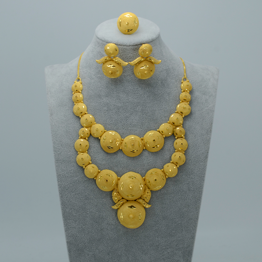 Middle East Wedding Jewelry sets NecklaceEarringsFree Size Ring