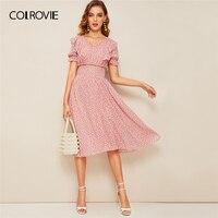 df94e44c90a2 COLROVIE Pink V Neck Ruffle Trim Puff Sleeve Shirred Waist Boho Dress Women  2019 Summer Korean
