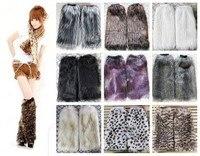 Retail Roma women Winter Warm Leg Warmers Faux Fur 40cm Boots Shoes Cover Cuff Furry Soft leg Ankle warmer T-36