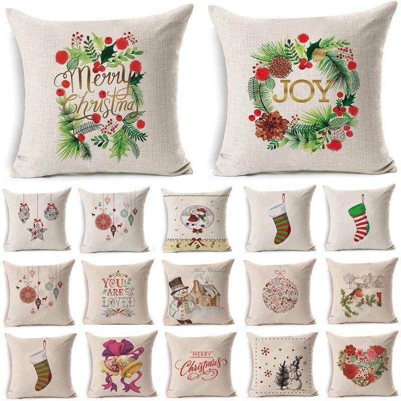 1Pcs 43*43cm Christmas Jingle Bells Pattern Cotton Linen Throw Pillow Cushion Cover Car Home Sofa Decorative Pillowcase 40479