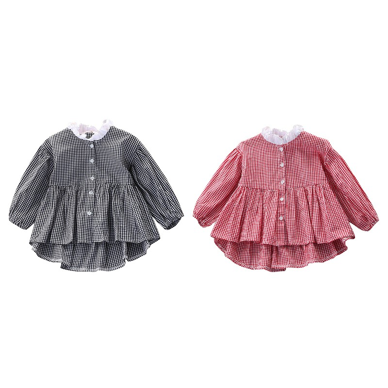 3-8T High Quality 2018 New-arrival Fashion Baby Casual Striped Shirt Dress Girls Classic Plaid Dresses Kids Clothing Y