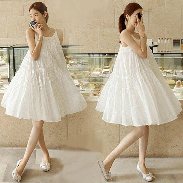 2016 Summer Forest Girl Style Loose Plus Size Bohemian Women Cute Babydoll  White Dress Lace Patchwork mori girl dress U085 6da2d02b323d