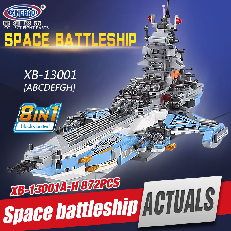 XINGBAO 13001 Toys 8 IN 1 Series The Universe Battleship Set Building Blocks Bricks Toys For Children Birthday Christmas Gifts kl069 single sale the x files agent vol 1 uma thurman the bride bricks building blocks figures for children gifts toys kl9011