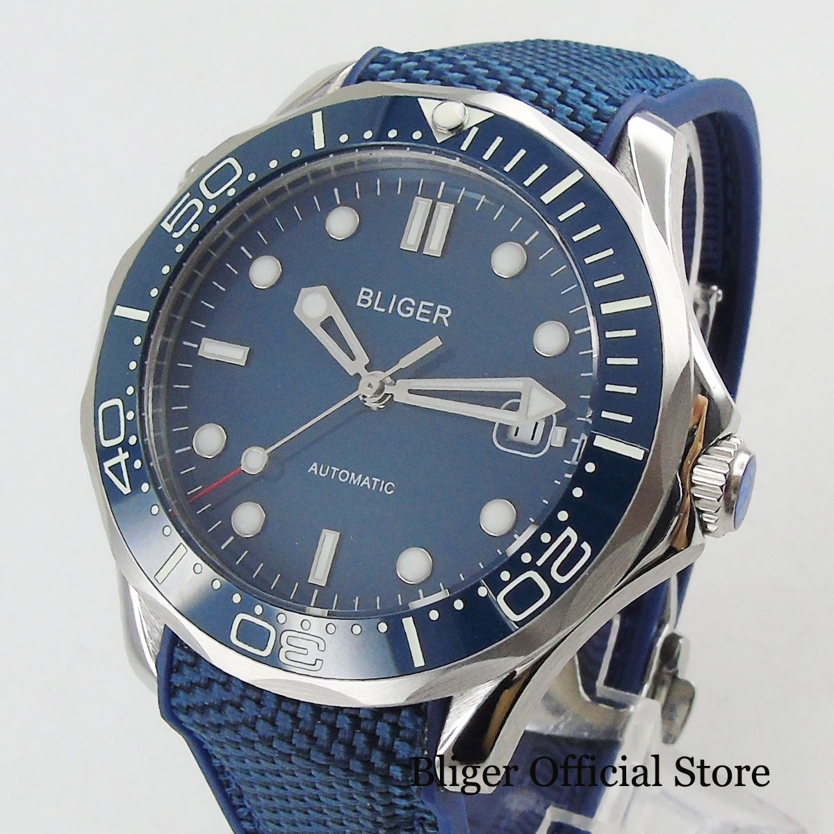 BLIGER Automatic Men's Watch With Date Window Wristwatch Rubber Strap 41mm Time Watch
