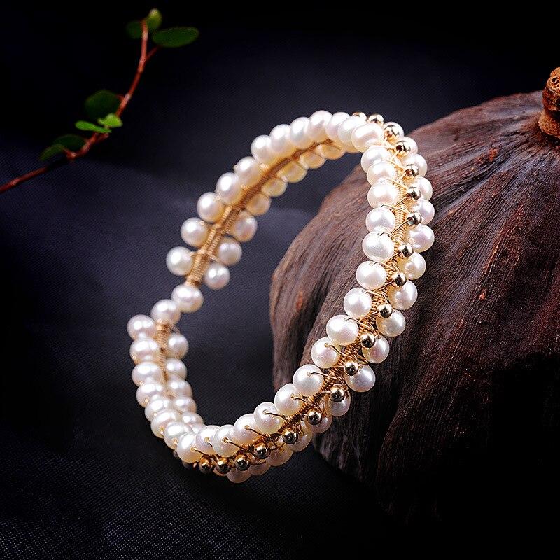 Nouveautés Élégant Dame de Naturel Perle Baroque Bracelet Femmes Élégant Perlé Bracelet S925 Sterling Argent Perle Bracelet