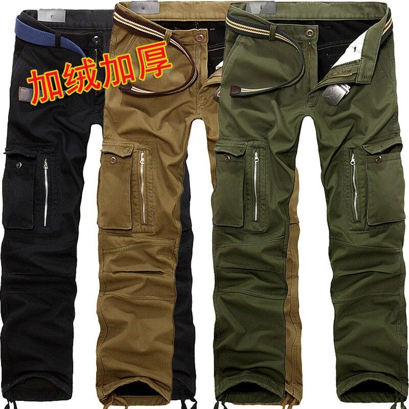De haute qualité plus de velours épais multi-sac pantalon de salopettes pantalons hommes