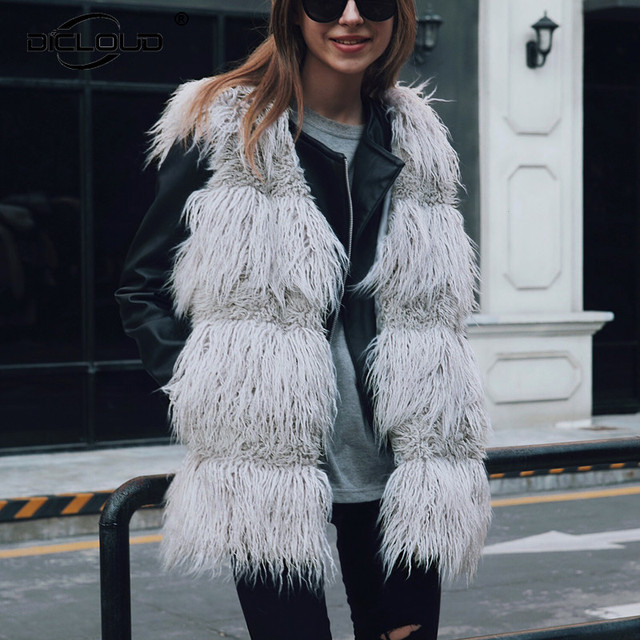 c7dd1eb4ab04d Chic 2018 Autumn Winter Outfits Faux Fur Vest Women Fluffy Sheep Fur Gilet  Waistcoat Thicken Warm Sleeveless Fur Jackets Coats