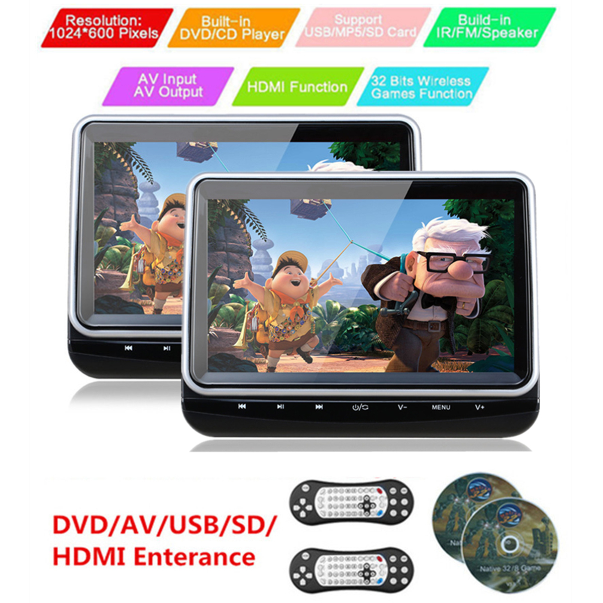 Universel 2 pièces 10.1 ''voiture appuie-tête lecteur DVD HD LED TFT écran tactile boutons avec HDMI Port voiture moniteur soutien 1024*600 vidéo