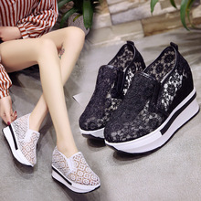 Single shoes women in the summer increased versatile flat bud silk yarn small white casual set of high-heeled