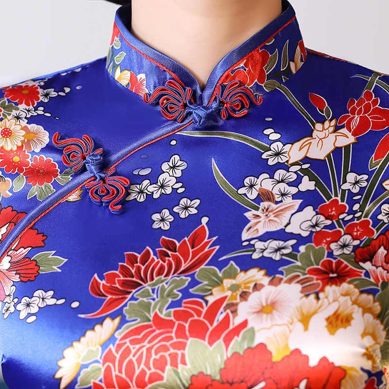 新中国の伝統的なドレス人間サンドバッグの女性クラシックサテンのチャイナ長袖女性袍ドレスプリント花孔雀パーティードレス