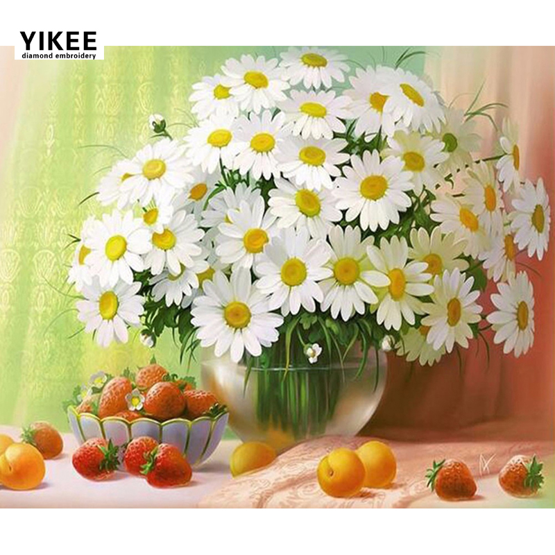 YIKEE b006 100% Full Square Diamond Painting Kruissteek, bloemen, 5d, Diamond Embroidery Daisy Flowers