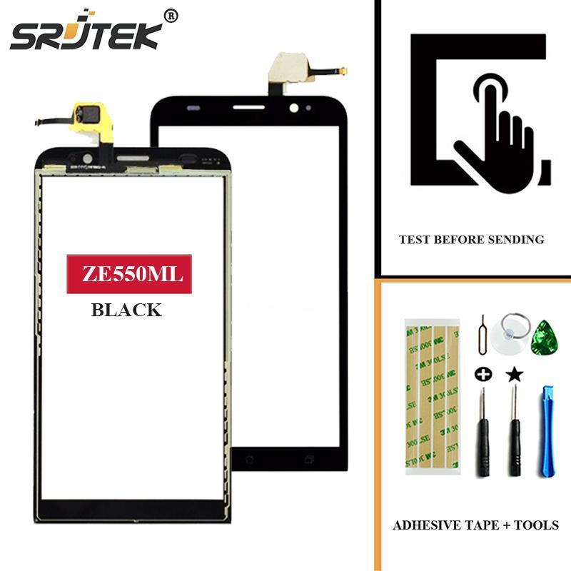 Srjtek For Asus Zenfone 2 ZE550ML 5.5'' Touch Screen Digitizer Sensor Front Glass Panel Replacement Parts For ZE 550 ML Black