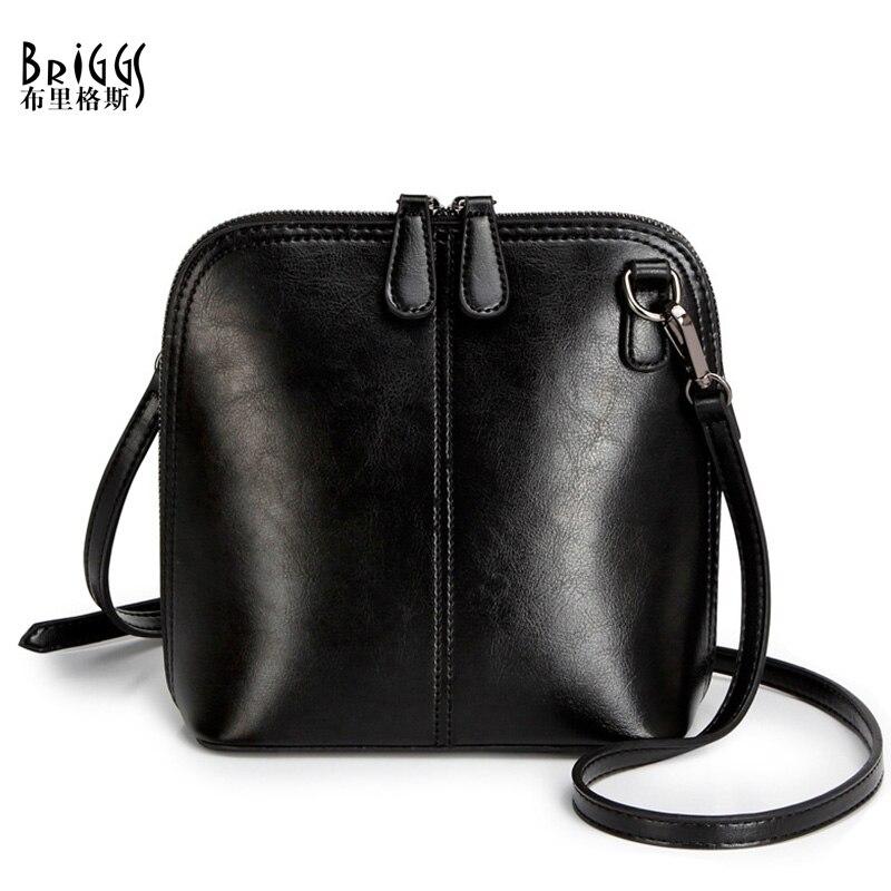 BRIGGS Fashion Women's Genuine Leather Shoulder Bags Vintage Women Shell Messenger Bag Designer Brand Small Sling Bags For Women