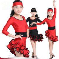 Hohe Qualität Weichen Komfort Kind Große Lateinisches Kleid Schräge Schulter Kleid Mädchen Gesellschaftstanz Kleid