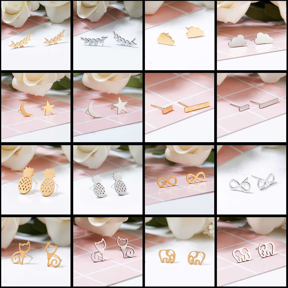 Golden and Silver Stainless Steel Minimalist Earrings for Women Trendy Stars Animal Cat Korean Stud Earrings Fashion Jewelry