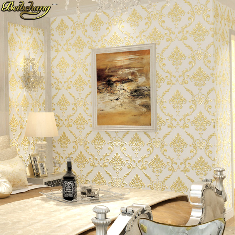 ③Beibehang papel de pared No tejido del papel pintado de oro papel ...