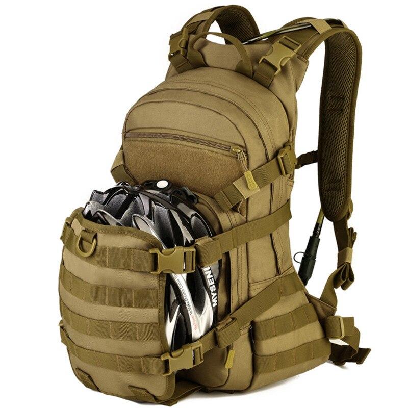 Sac à dos tactique militaire en Nylon extérieur 25L voyage équitation vélo Extensible casque sac à eau Double sac à bandoulière sac à dos