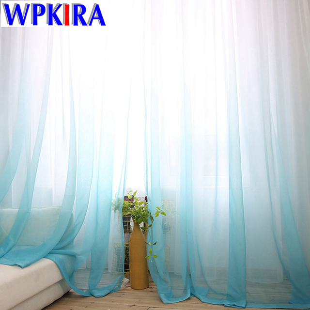 1PC American Europe Solid Sheer Blue Voile Gradient Curtains Tulle Fabric  Grey Window Curtain Panels White