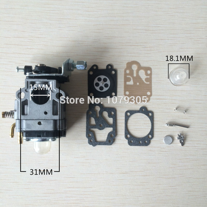 43CC 52CC CG430 CG520 Chinese Brush Cutter Grass Trimmer Carburetor with Repair Kits 3set brush cutter carburetor gasket kit and primer bulb needle 40 5 44f 5 34f 36f 139f gx35 grass trimmer carburetor repair kit