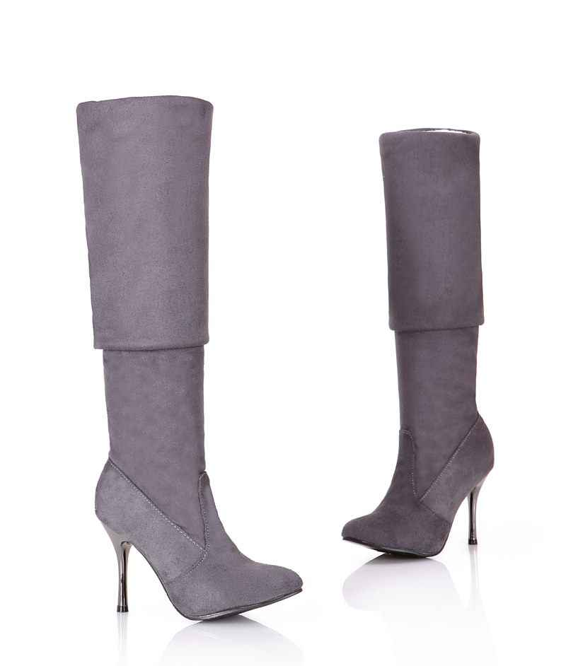 MORAZORA artı boyutu 34-43 yeni moda ayakkabılar diz çizmeler üzerinde kadın stiletto yüksek topuklu sonbahar sivri burun uyluk yüksek çizmeler
