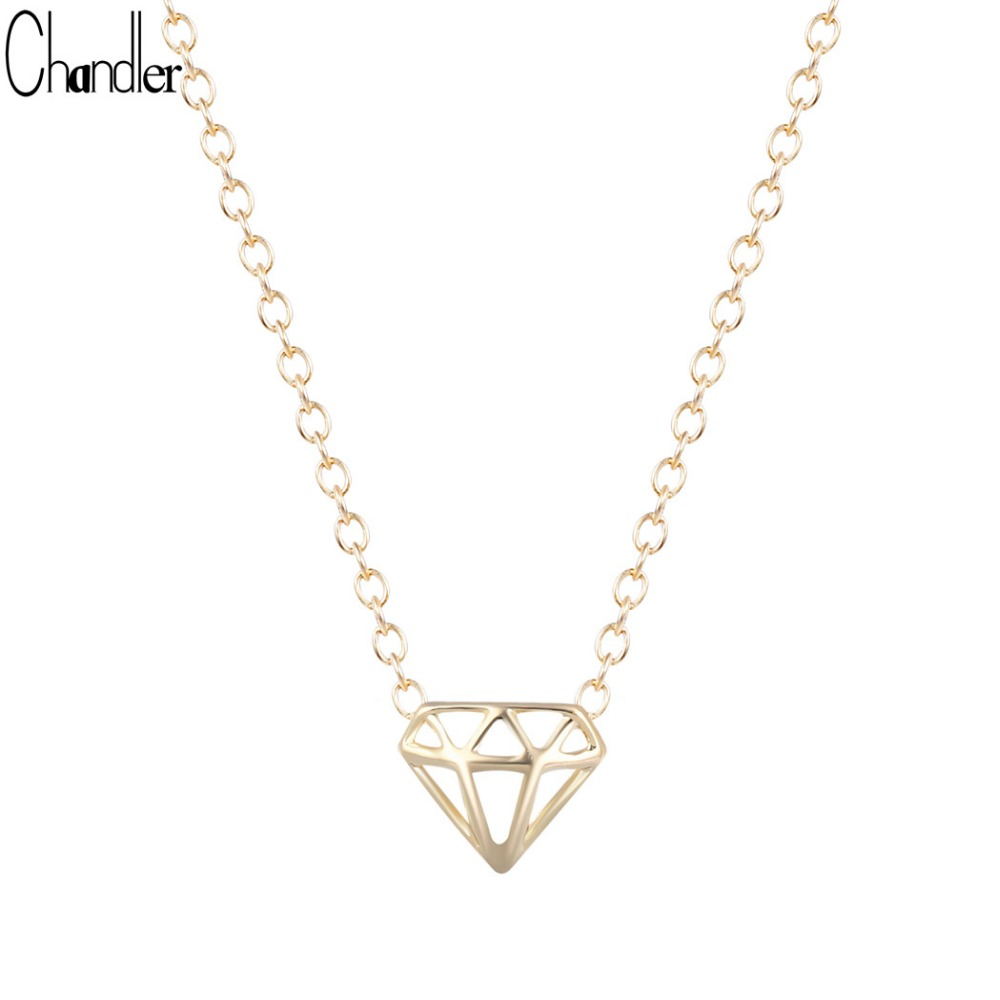 Silver Gold Color Simulated VIP Triangle Model Pendant Necklaces For Women Shining Noble Long Chain Statement Brand Jewelry