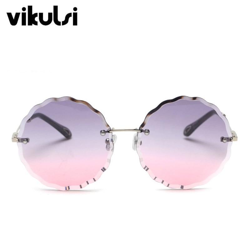 New 2018 Brand Designer Oversized Round Sunglasses -Women Fashion Rimless Wavy Lens Sun Glasses Ladies Clear Purple Shades UV400