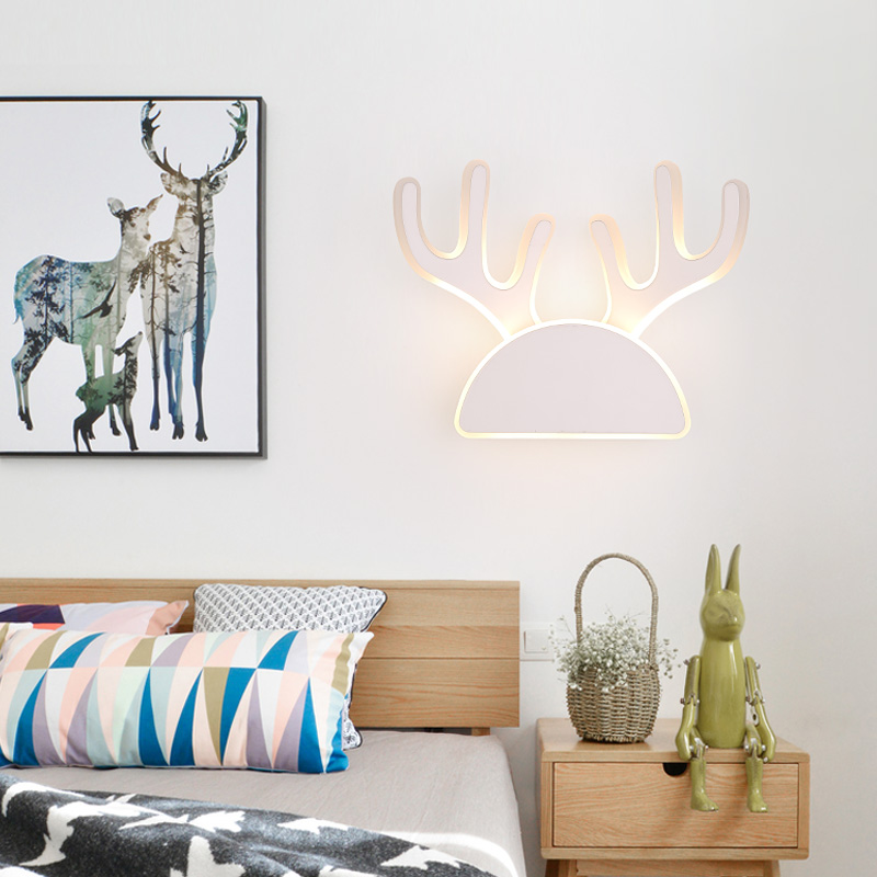 Simple LED Wall Lamp Modern  Bedroom Childrens Room Cartoon Wall Light Nordic Creative Background Lights Staghorn LampsSimple LED Wall Lamp Modern  Bedroom Childrens Room Cartoon Wall Light Nordic Creative Background Lights Staghorn Lamps