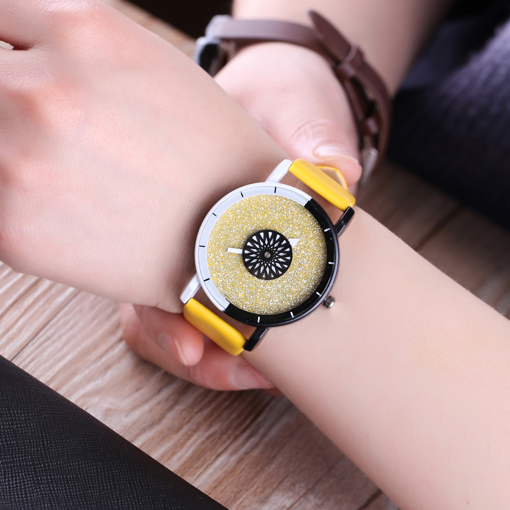 Candy Color Simple Fashion Yellow Leather Strap Quartz Wrist Watch Women Luxury Watch Frosted Dial White and Black Unisex Watch daybird 3785 unisex quartz wrist watch w hollow calendar black red white silver 1 x lr626