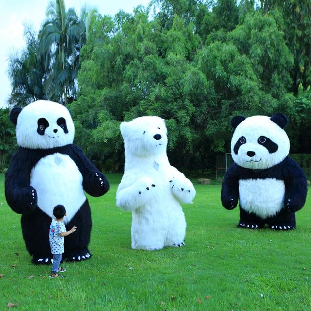 פנדה מתנפח תלבושות דוב קוטב קמע מתנפח תלבושות ליל כל הקדושים תלבושות עבור 3M גבוה מתאים עבור 1.7m כדי 1.95m למבוגרים