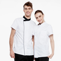 Unisex Kucharz kombinezon krótki rękaw kuchnia, jadalnia odzież robocza kucharz kucharz jednolite tkaniny