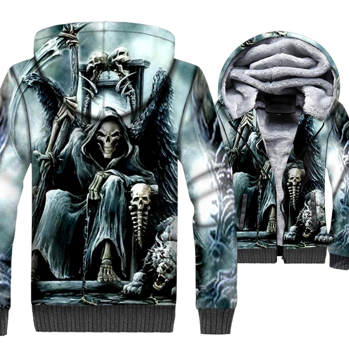 Flame Skull Jacket Men 3D Hoodies Skeleton Gothic Sweatshirt 2018 Winter Thick Fleece Warm Zipper Coat Swag Hip-Hop Sportswear