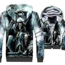 Flame Skull Jacket Men 3D Hoodies Skeleton Gothic Sweatshirt 2018 Winter Thick Fleece Warm Zipper Coat Swag Hip-Hop Sportswear