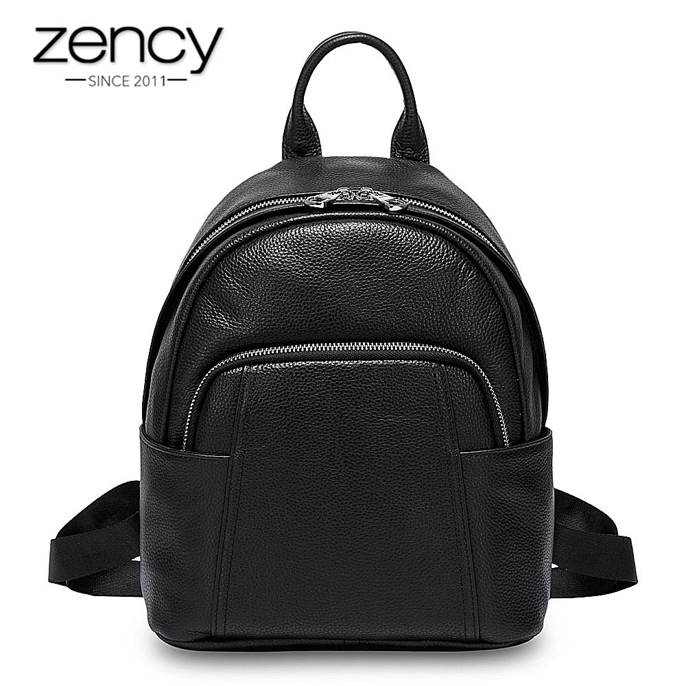 Zency New Style Women Backpack 100% Genuine Leather Knapsack Black Travel Bags Preppy Style Girl Schoolbag Notebook Ipad