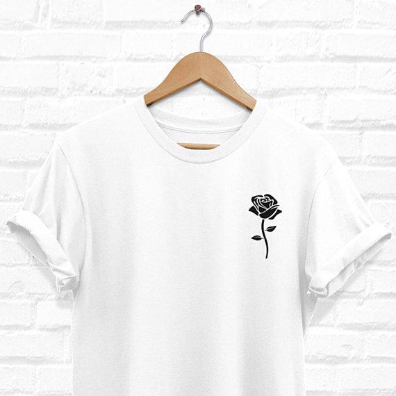 Black Rose Shirt, Rose Tshirt, Pocket Rose T Shirt, Roses White Tee, Hypebeast Clothing, Trendy T-Shirt, Streetwear Shirts-D998