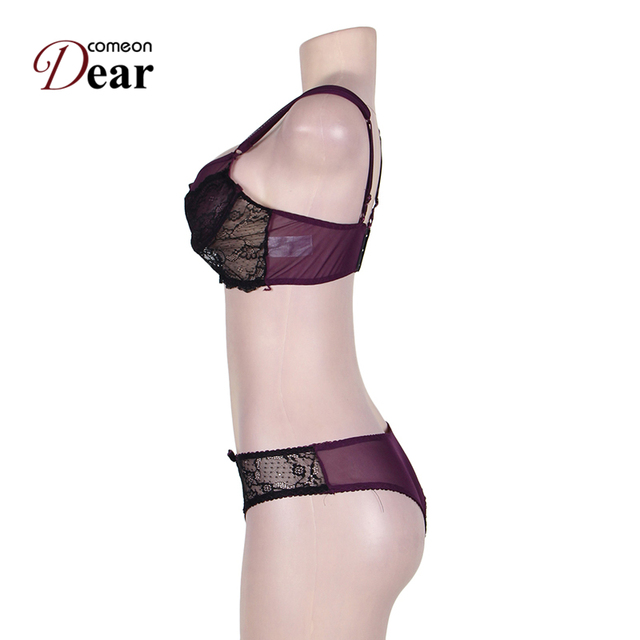 Comeondear Sexy Lingerie Set Sous Vetement Femme Sexy Exotic Apparel RB80273 Hot Selling Fashion Naughty Purple Cute Bra Set