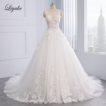 Lustrous Embroidery Tulle Scoop Neck Beading 3D Flowers A-Line Wedding Dresses With Court Train Appliques Luxury Gown