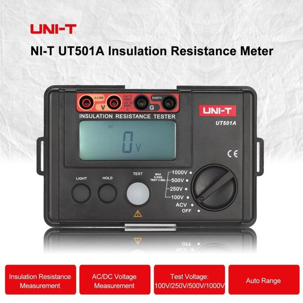 UNI-T UT501A Isolation Numérique Résistance Mètre Testeur de Terre Mégohmmètre Voltmètre Haute Tension D'entrée Alarme Rétro-Éclairage 1000 v